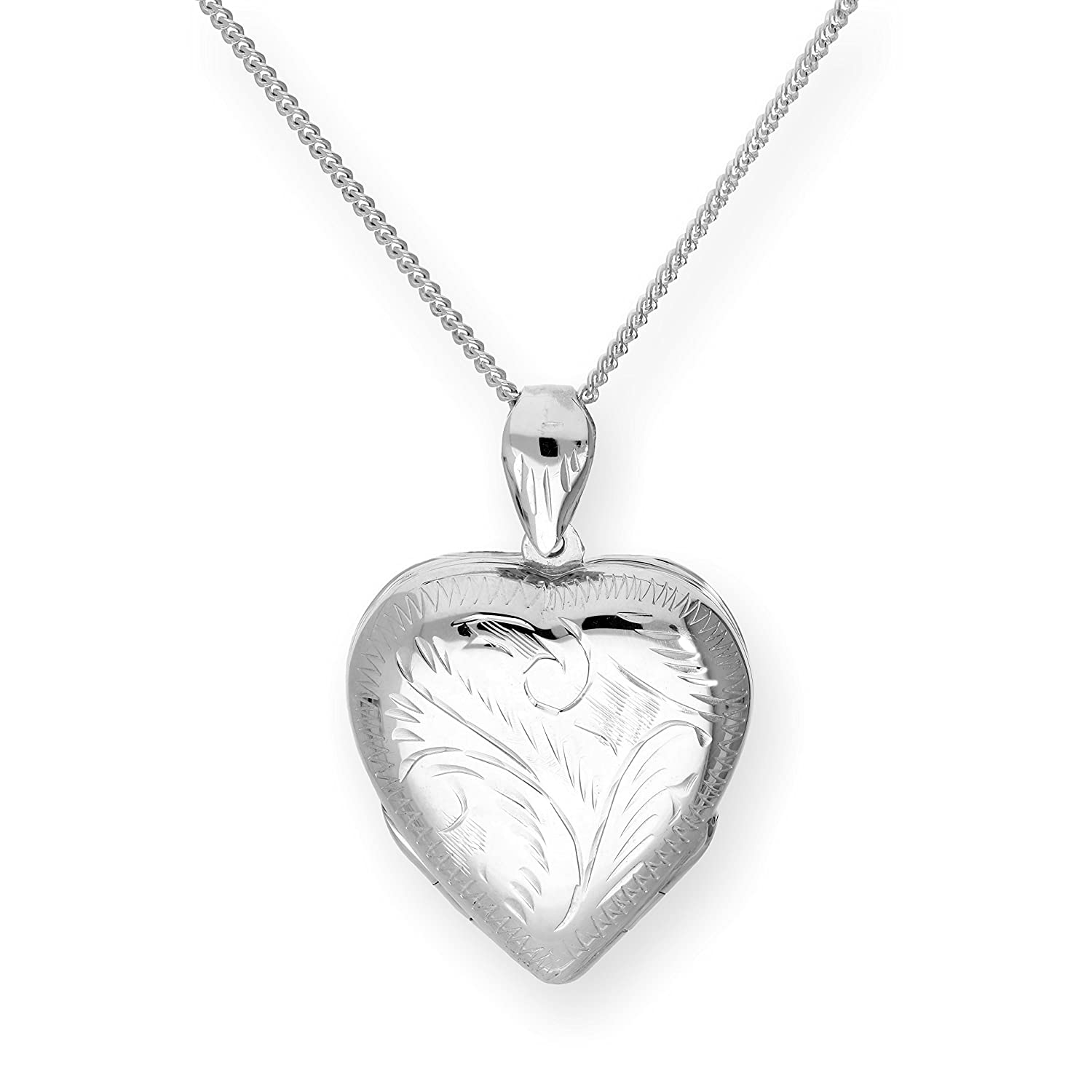 Large Sterling Silver 4 Photo Engraved Heart Family Locket on Chain 16-24 Inches jewellerybox BKT-090-16