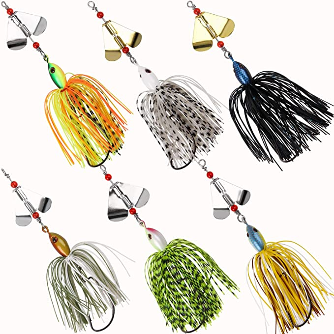 20pcs LUSHAZER Noise Sequins Spinner Baits Zinc Alloy Fishing Lure Swimbait