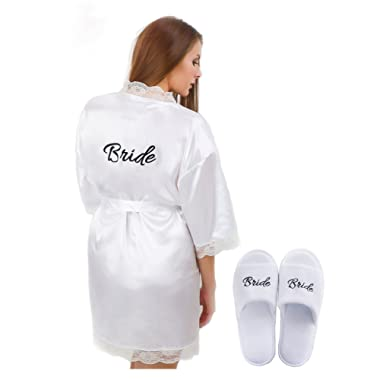Womens Bridal Robe with 'Bride' Print on Back and Free Bridal Slippers