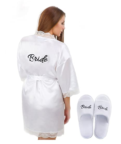 Womens Bridal White Robe with 'Bride' Print on Back and Free Bridal Slippers Set (Large, White)