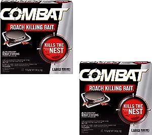 Roach Killing Bait, Large Roach Bait Station, Kills The Nest, Child-Resistant, 8 Count- 2 Pack