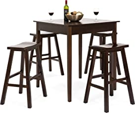 Best Choice Products 5 Piece Solid Wood Dining Pub Bar Table Set With 4 Backless Saddle