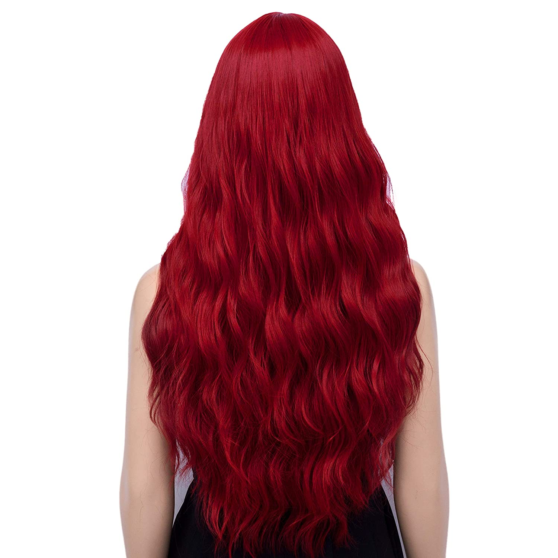 Women's Red Cosplay Wig, Long Wavy Heat Resistant Fiber Wigs (Red)