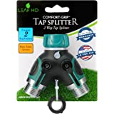 LEAF HD ZX-9 Garden Hose Splitter Y Ball Valve Connector with Soft Touch Easy Turn Levers Bundle with 3 Rubber Washers