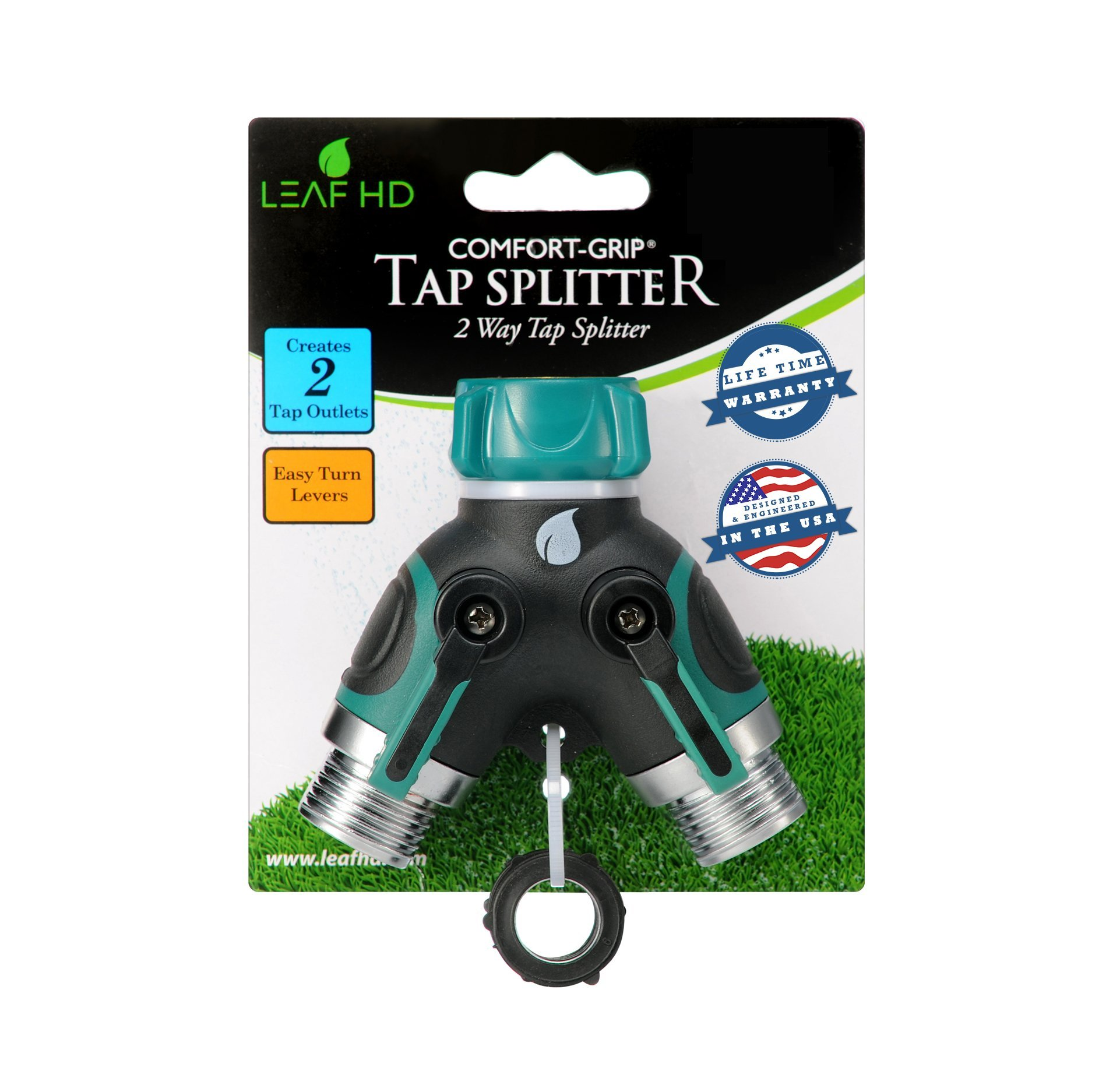 LEAF HD ZX-9 1 Garden Hose Splitter Y Ball Valve Connector with Soft Touch EZ Turn Levers Designed in MN, USA Bundle with 3 Extra Rubber Washers