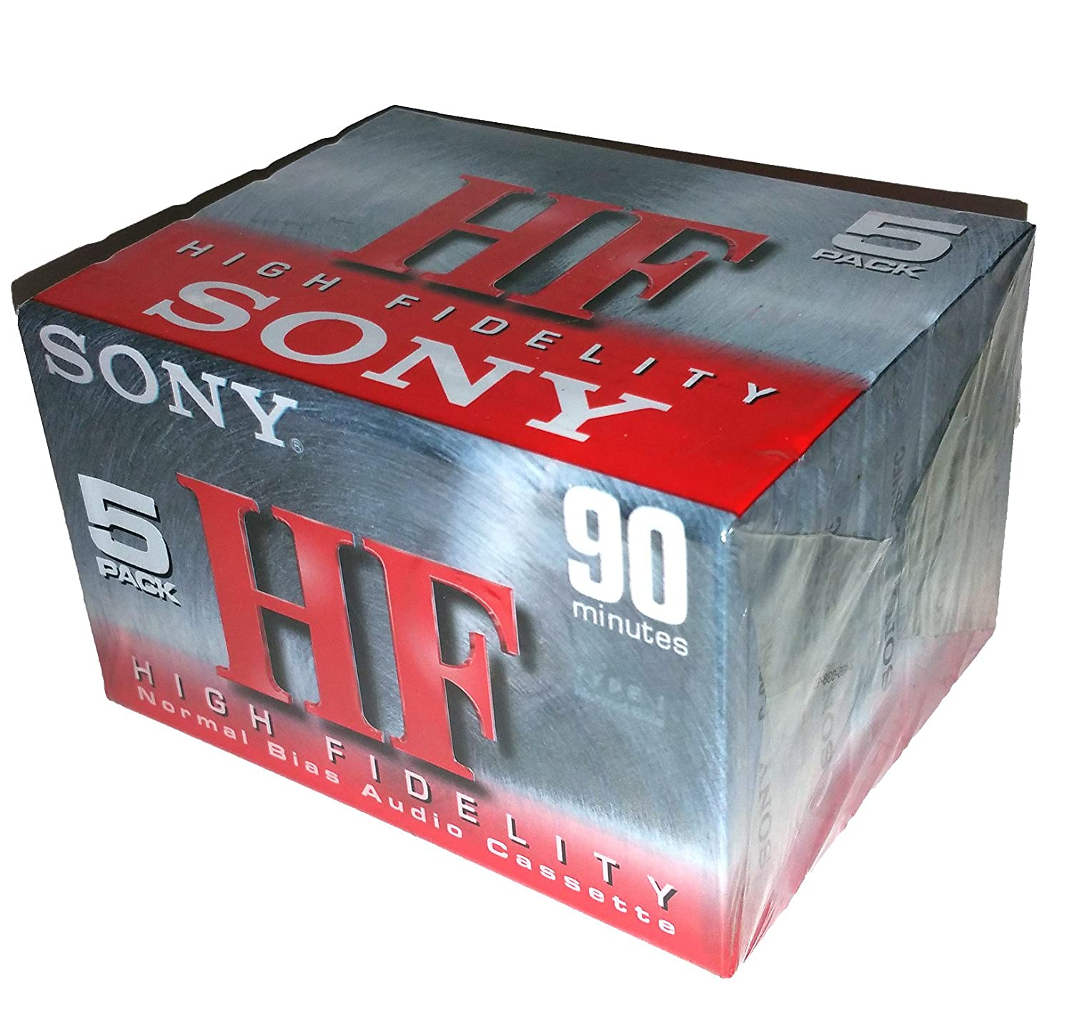 Sony HF 90 High Fidelity Normal Bias Blank Audio Cassettes C-90HFC - 5 Pack