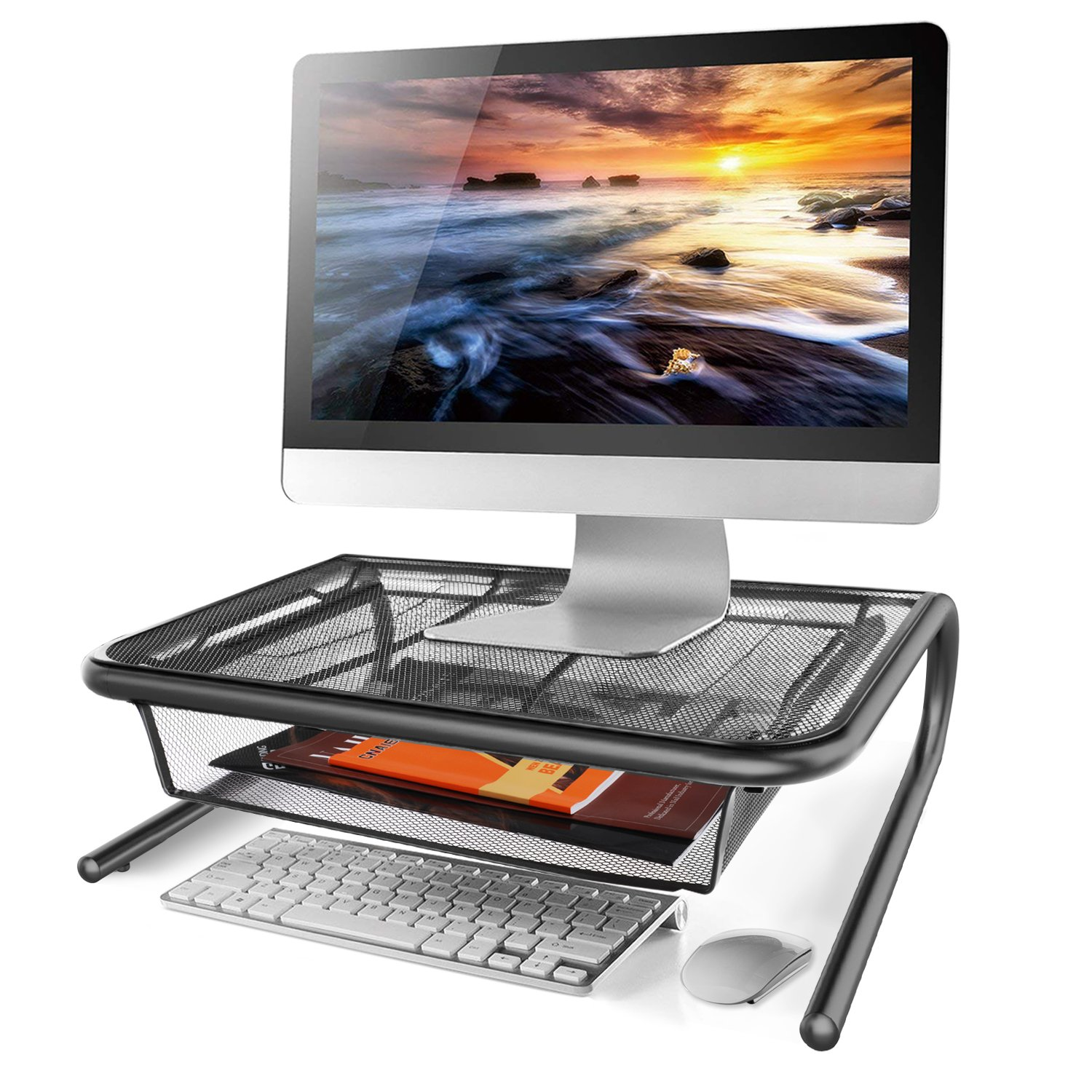Monitor Stand Riser with Pull Out Storage Drawer - Mesh Metal Printer Holder with Ventilated Surface for Computer, Laptop, Printers - Keeps Your Devices Cool & Prevents Overheating - Premium Computer by HUANUO (Image #2)
