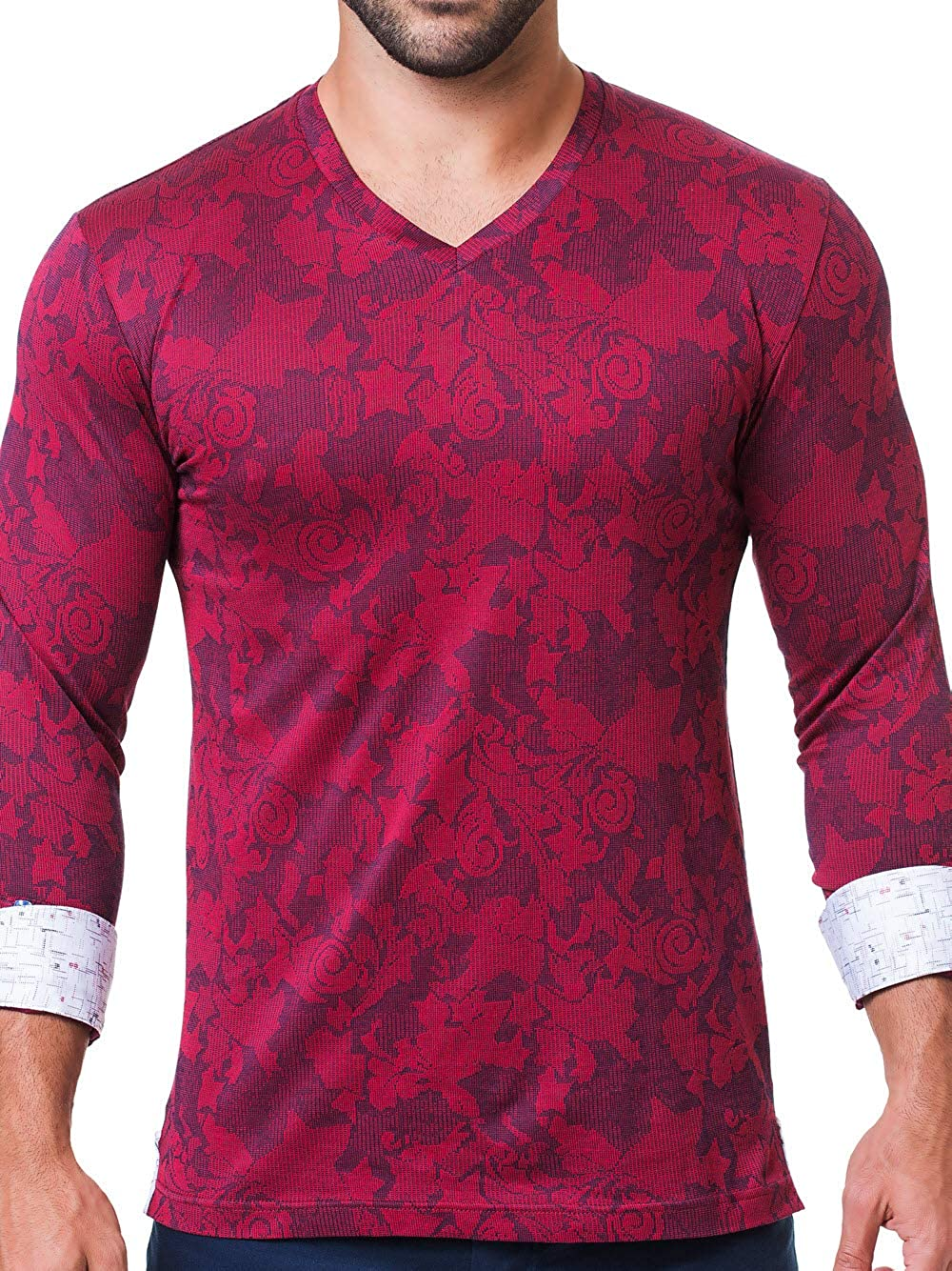 b9db5071480c Maceoo Mens Designer V Neck - Stylish & Trendy T Shirt - Edison Cloud Red -  Tailored Fit at Amazon Men's Clothing store:
