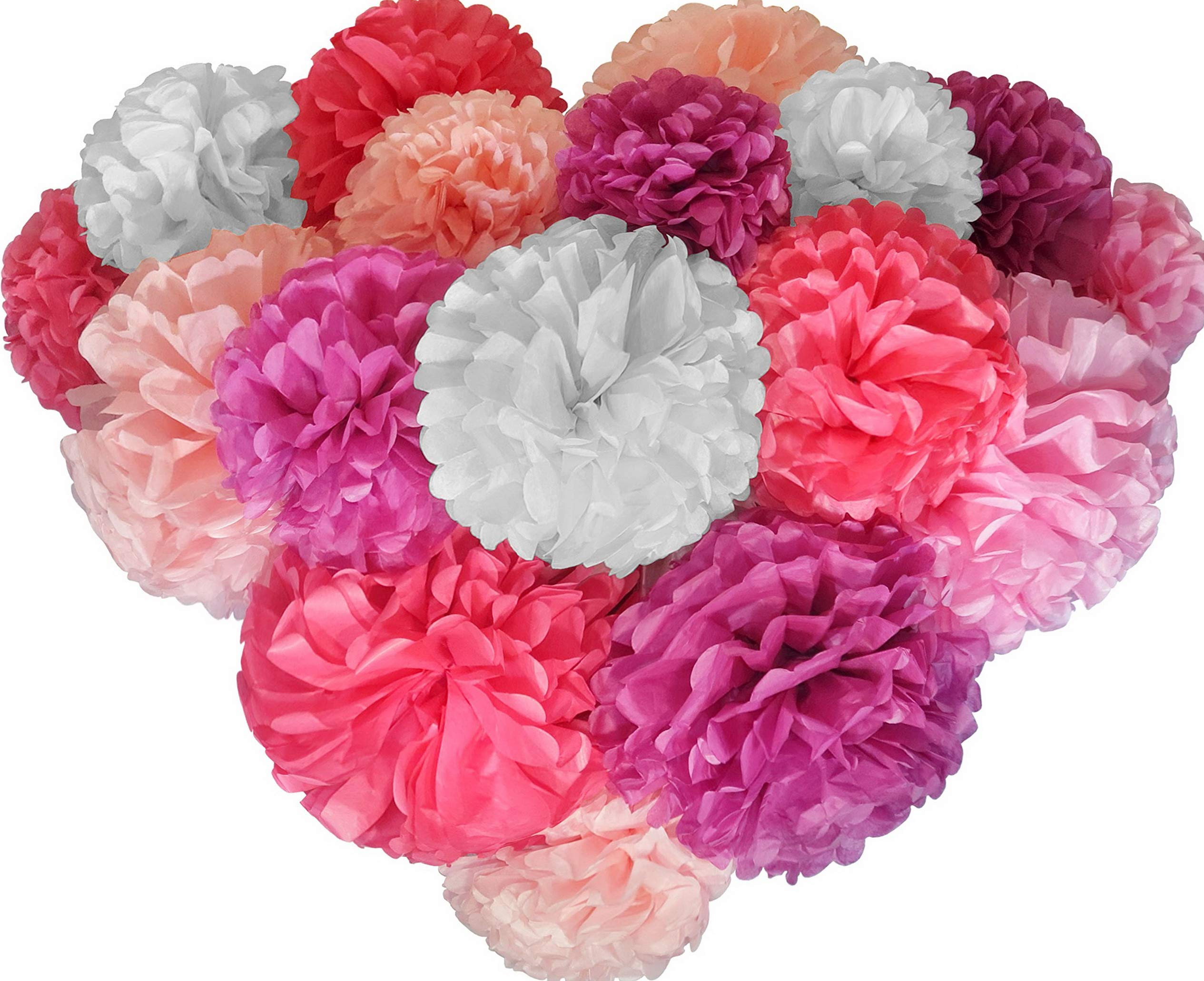 Mikash Paper Pom Poms - 20 pcs of 8, 10, 14 Inch - Paper Flowers - Perfect for Wedding Decor - Birthday Celebration - Table and Wall Tion (Pink Mix) | | Model WDDNG - 640