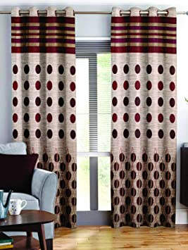 Story@Home Berry Blackout Contemporary Pattern 1 Piece Jacquard Window Curtains for Living Room and Bed Room - 5 Feet Long - Maroon Curtains at amazon