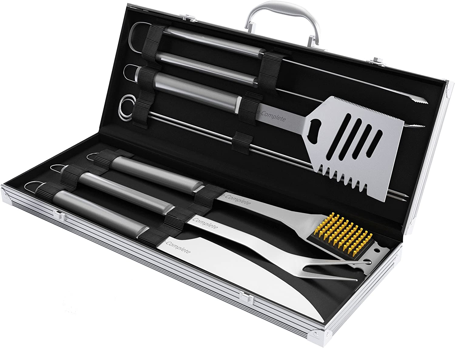 Home-Complete BBQ Grill Tool Set- Stainless Steel Barbecue Grilling Accessories Aluminum Storage Case, Includes Spatula, Tongs, Basting Brush