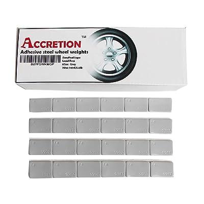 ACCRETION 1/2 Oz, 0.5 Oz, 90oz(180pcs), Grey, Wheel Weights (Lead Free). USA Made White Tape, Easy to Peel. Low Profile, 5.6 Lbs.: Automotive