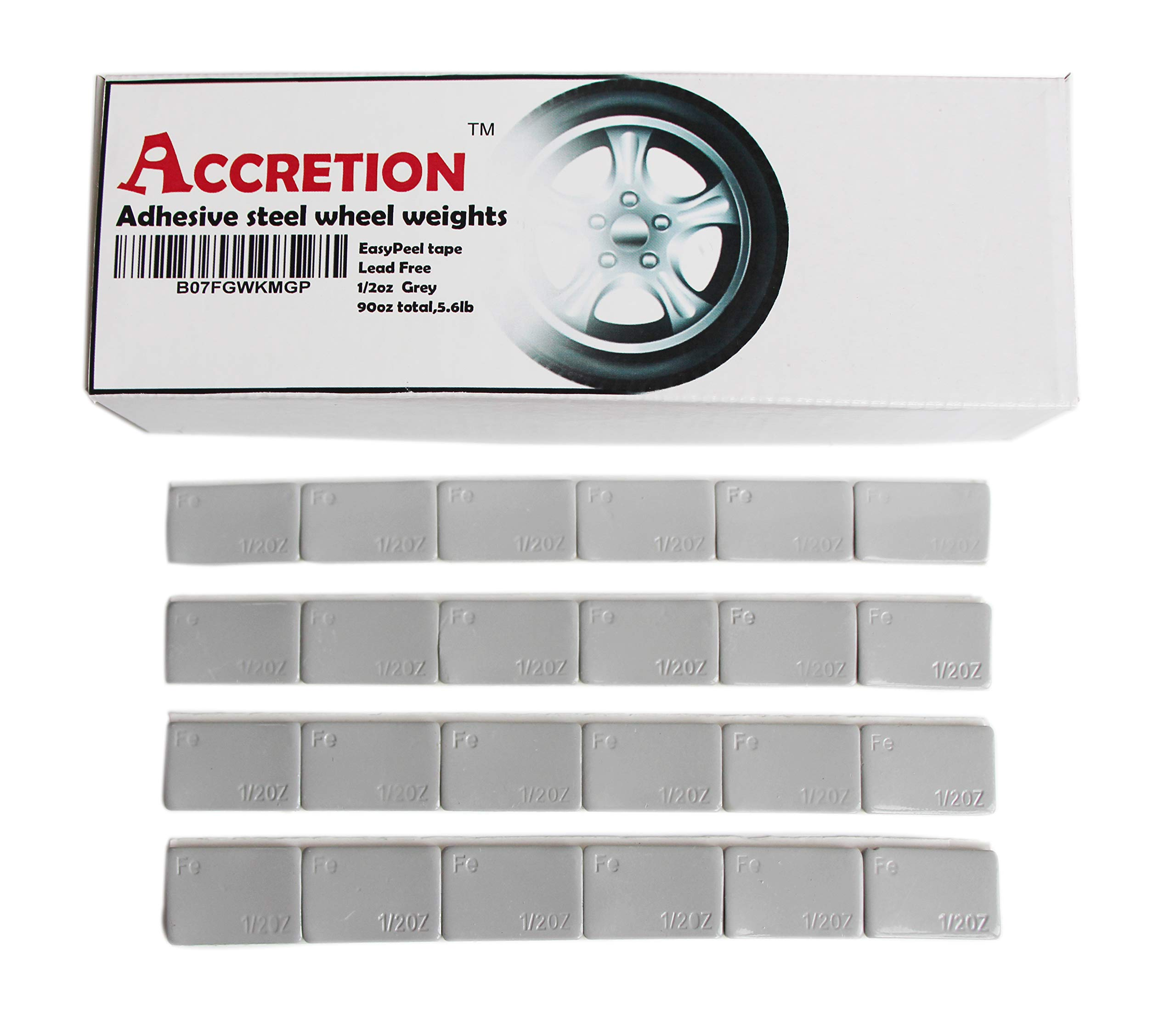Accretion 1/2 Oz, 0.5 Oz Grey Wheel Weights (Lead Free). U.S.Made White Tape-2 mm Wide, Easy to Peel. Low Profile. 90 Oz Total,5.6 Lbs(180 pcs) by Accretion