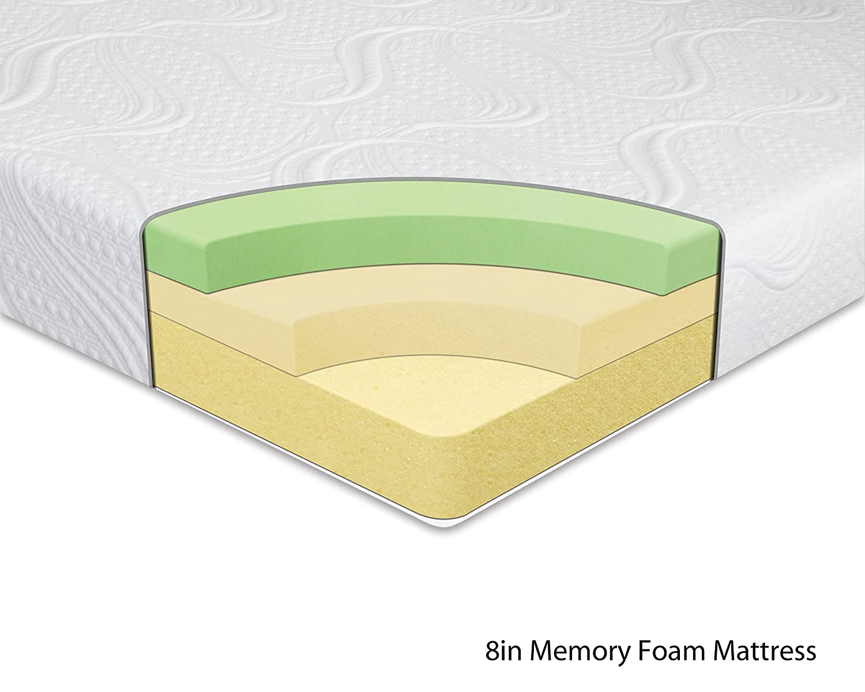 Amazon.com: Night Therapy Memory Foam 8 Inch Mattress and SmartBase ...