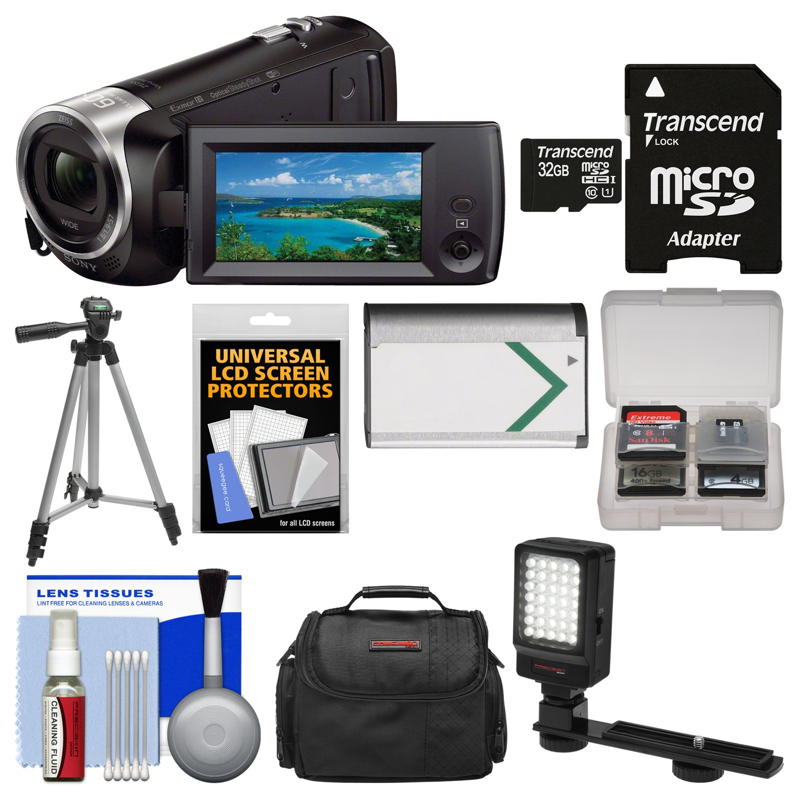 Sony Handycam HDR-CX440 8GB Wi-Fi 1080p HD Video Camera Camcorder with 32GB Card + Case + LED Light + Battery + Tripod + Kit by Sony