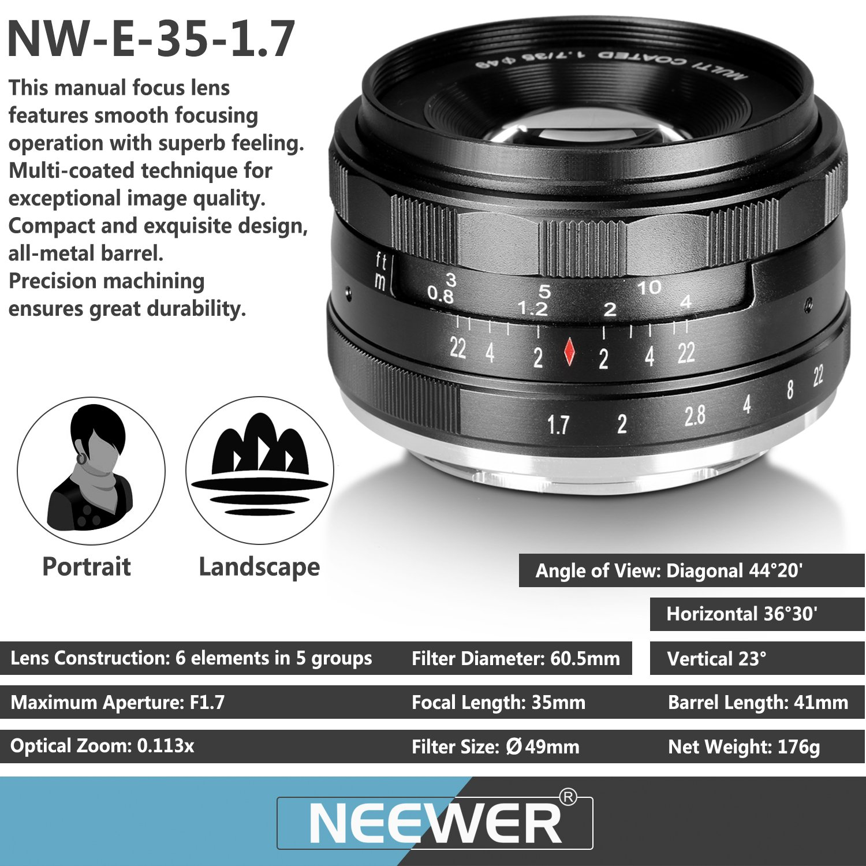 Neewer 35mm F1.7 Large Aperture Manual Prime Fixed Lens APS-C Compatible with Sony E-Mount Digital Mirrorless Camera A7III A9 NEX 3 3N 5 NEX 5T NEX 5R NEX 6 7 A6400 A5000 A5100 A6000 A6100 A6300 A6500