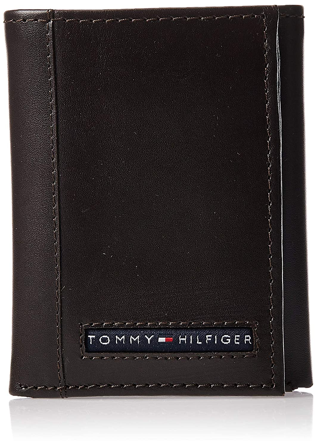 Tommy Hilfiger Mens Leather Cambridge Trifold Wallet,Brown,