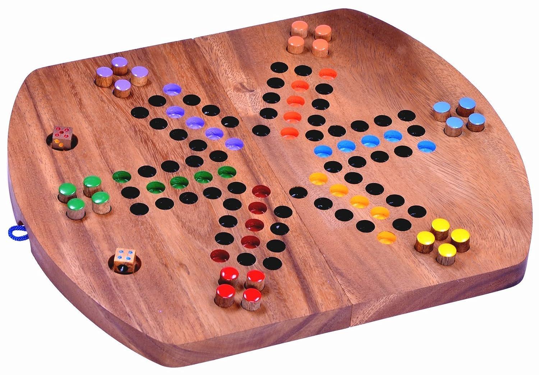 Ludo für 6 Spieler - Würfelspiel - Gesellschaftsspiel - Familienspiel aus Holz mit klappbarem Spielbrett