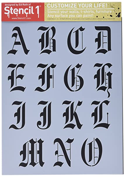 Stencil1 S1_ALPH_OE_19 2 Sheet Old English Font Alphabet Stencil, 8 5