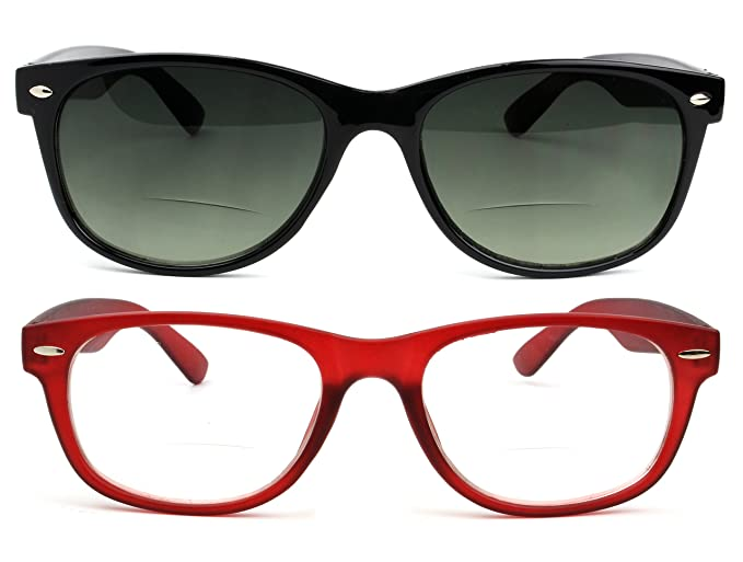 Wayfarer Style Bifocal Reading Glasses Readers with Spring Hinges for Men  and Women 2.5 Red f9a26ec31526