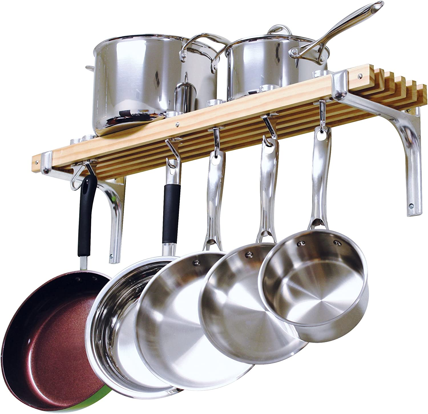 Cooks Standard Wall Mounted Wooden Pot Rack, 36 by 8-Inch: Kitchen Pot Racks: Kitchen & Dining