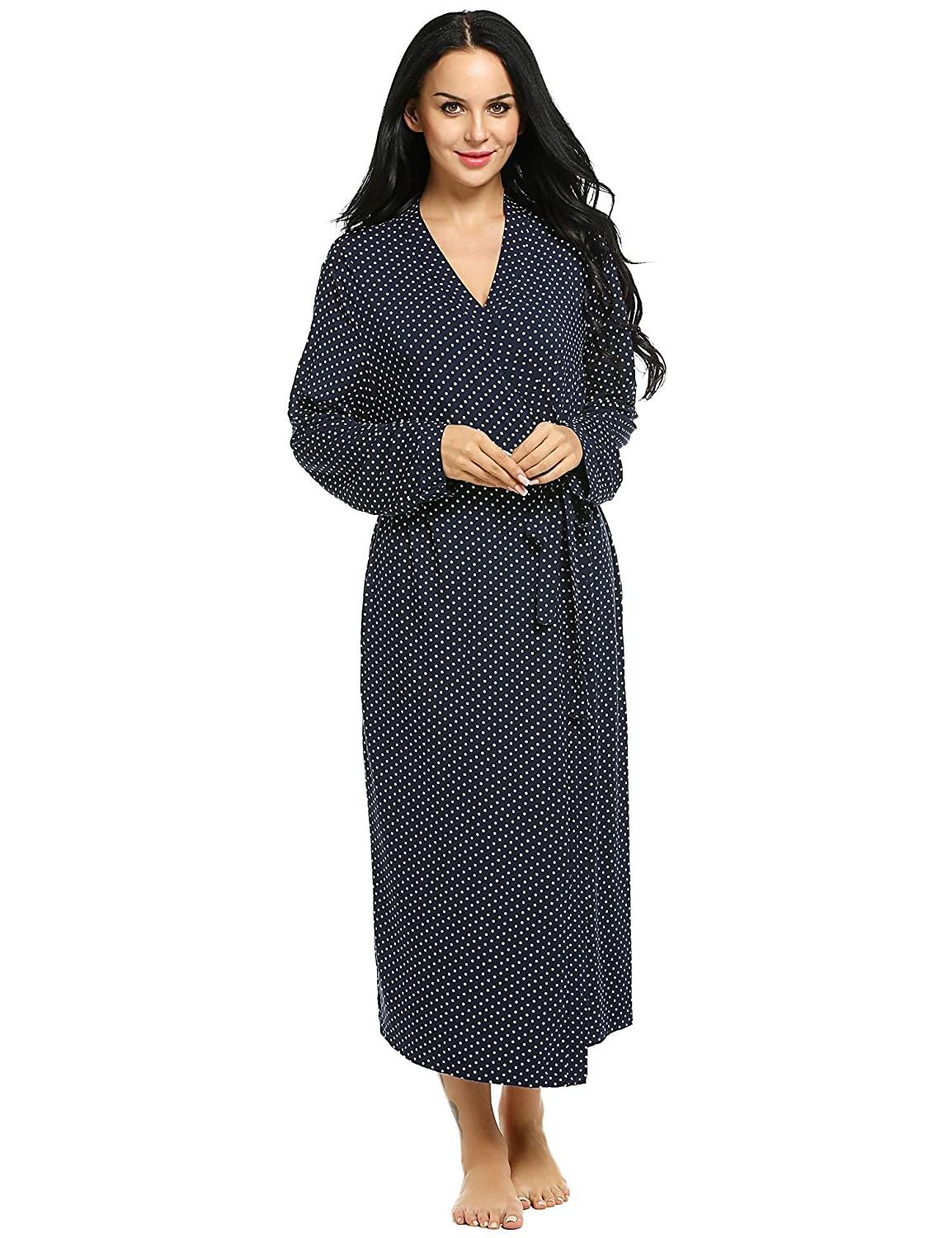 Ekouaer Women Cozy Lightweight Sleeping Robe Polka Dot/Solid Lounge Sleepwear Long Bathrobe With Belt