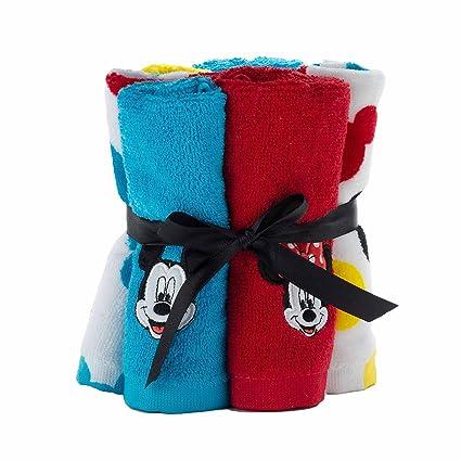 Disney Mickey y Minnie Mouse 100% algodón rizo Pack de 6 toallitas para niños –