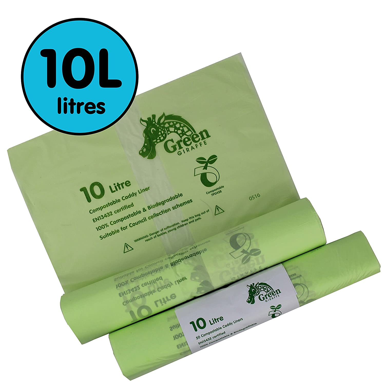 10 Litre x 100 bags Compostable Caddy Liners 10L Kitchen - Food Waste Bin Liners - EN 13432 - Compost Bags All-Green