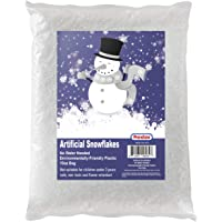 Artificial Snow 10 Ounces Fake Snow Flakes for Christmas Tree Decoration, Village Displays - Sparkling White Dry Plastic Snowflakes for Holiday Decor and Winter Displays