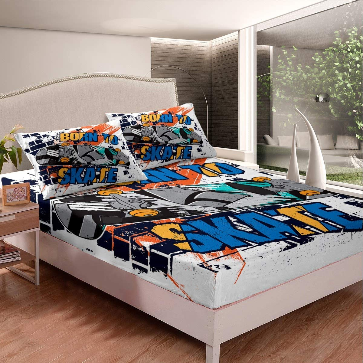 Feelyou Youth Skateboard Bedding Set Kids Extreme Sports Theme Bed ...
