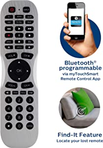 Philips Universal Remote Control with Smartphone App and Find It Feature for Samsung, Vizio, Sony, Sharp, Roku, Apple TV, RCA, Panasonic, Smart TVs, Blu Ray, DVD, 6-Device, Silver, SRP2017B/27