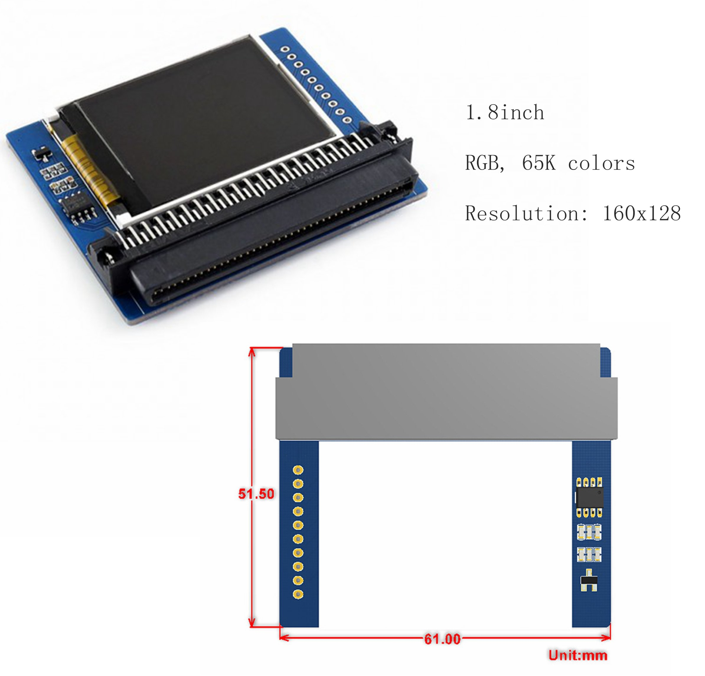 CQRobot 1.8inch 160x128 65K Colors Colorful Display Module for the BBC Micro:bit, SPI Interface, Reserved Solder Pads for Control Interface to Connect with Arduino/Nucleo Boards.