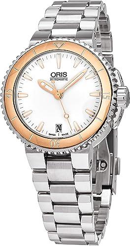 Oris Aquis 73376524356MB - Reloj para Mujer, Esfera Blanca, Acero Inoxidable: Amazon.es: Relojes