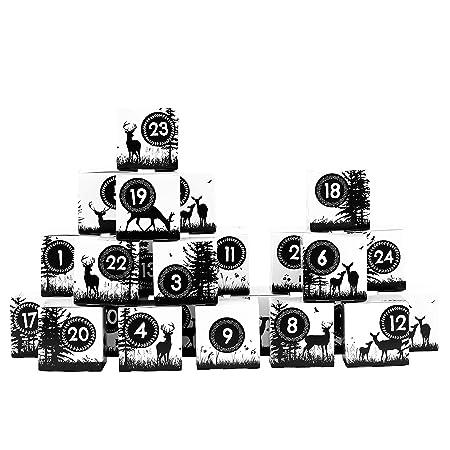 24 Boites Pour Calendrier De Lavent Motif Cerf Noir Et