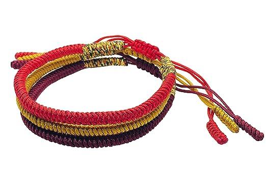8581a44b9b Tibetan Buddhist Handmade Lucky Knot Rope Bracelet (Set of 3 - Red ...