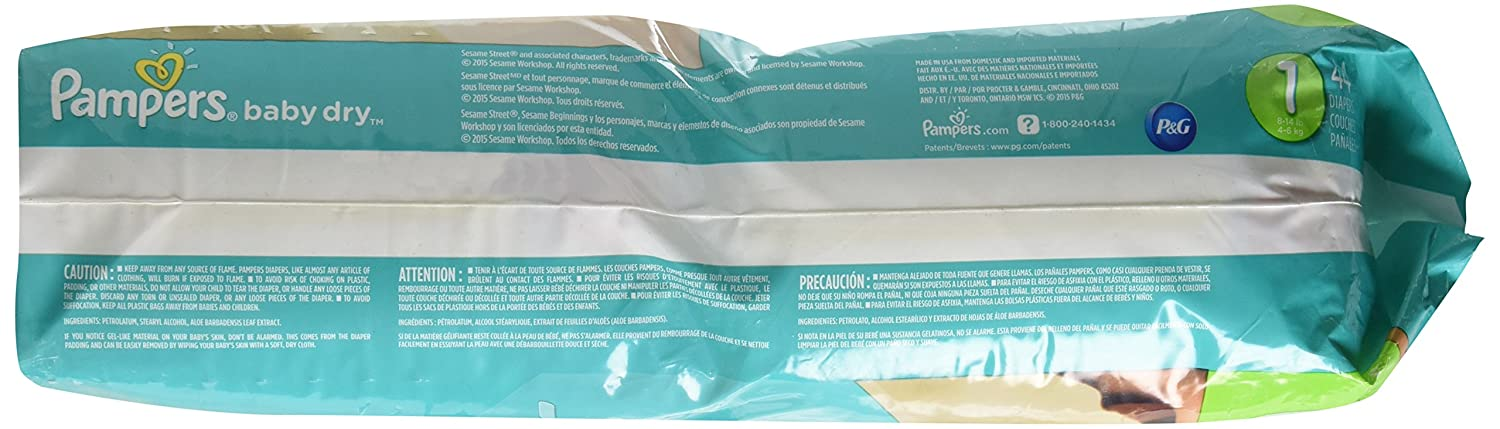 Amazon.com: Pampers Baby Dry Diapers Size 1 Jumbo Pack 44 ea (2-pack): Health & Personal Care