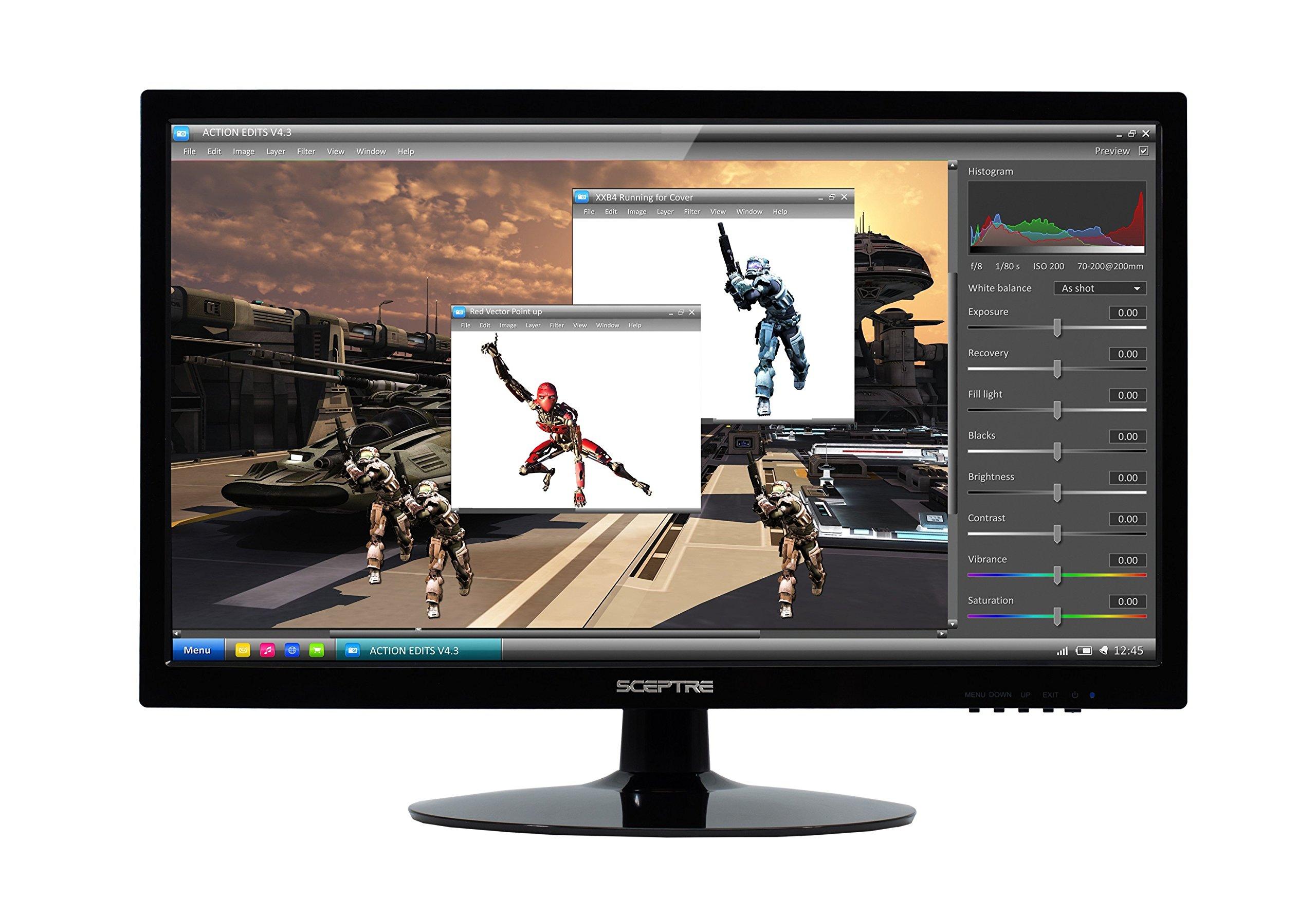 Sceptre 1600x900 HDMI DVI VGA LED HD Monitor - E205W-16008A 20'' True Black (2017)