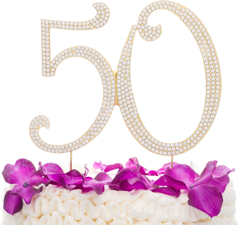 Decorazione per torta in strass per 50/° compleanno o anniversario Gold