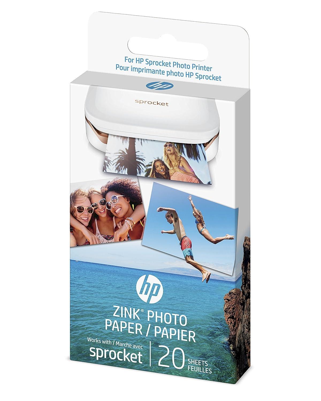 HP ZINK(R) Sticker Photo Paper for HP Sprocket Printer (2x3), 50 Sheets,1DE39A Hewlett Packard
