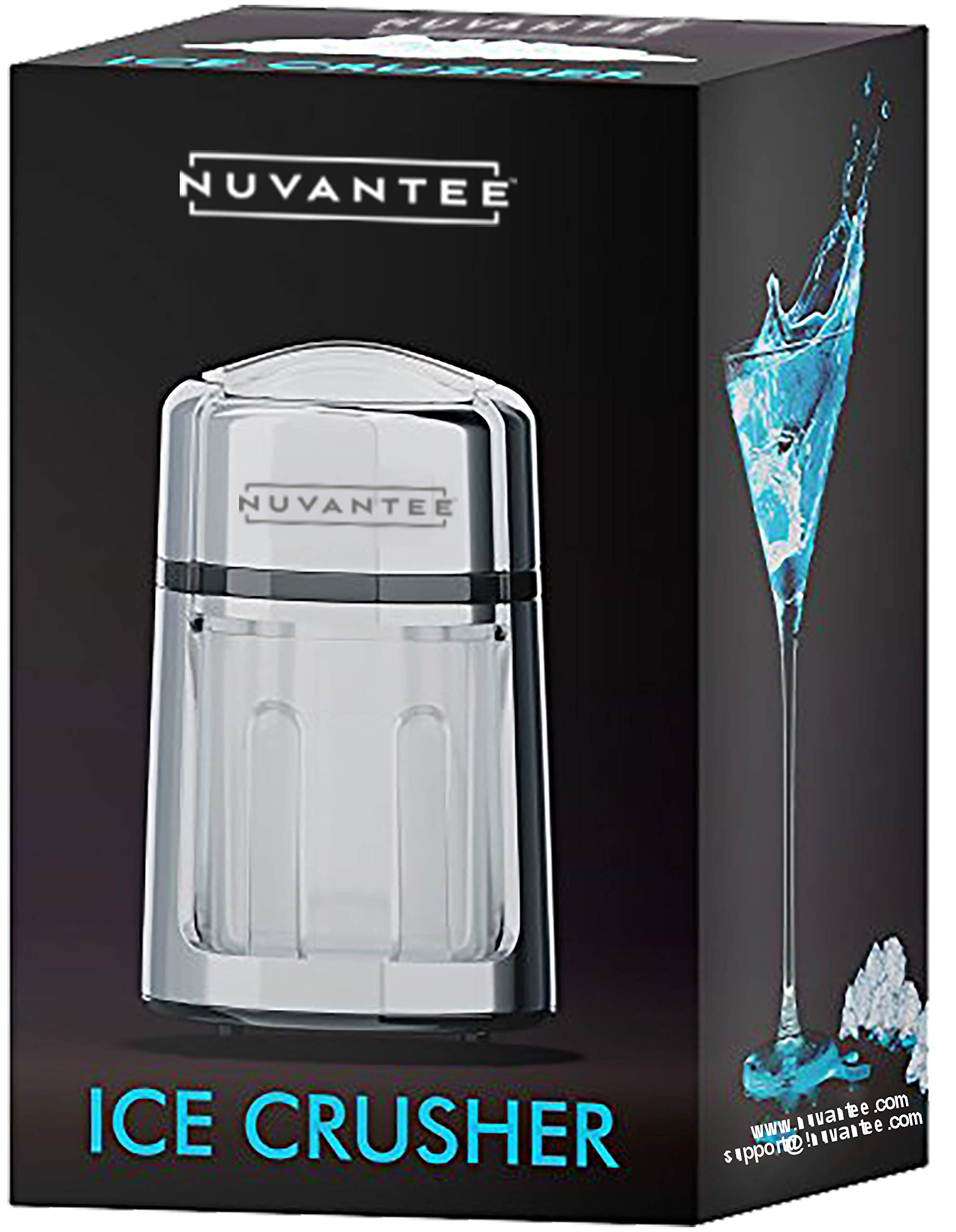 Nuvantee Manual Ice Crusher - Rust-Proof Zinc Alloy Construction - Carbon Steel 430 Blade - Hand Crank Ice Grinder - Fine or Coarse Pieces - Non-Slip Base - Chrome Plated by Nuvantee