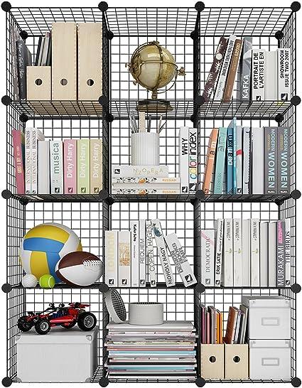 LANGRIA Estantería Modular Multiusos, Librería DIY de Rejilla de Alambre de 12 Cubos, Armario Abierto para Libros, Juguetes, Ropa, Herramientas, ...