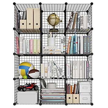 LANGRIA 12-Cube DIY Wire Grid Bookcase, Multi-Use Modular Storage ...