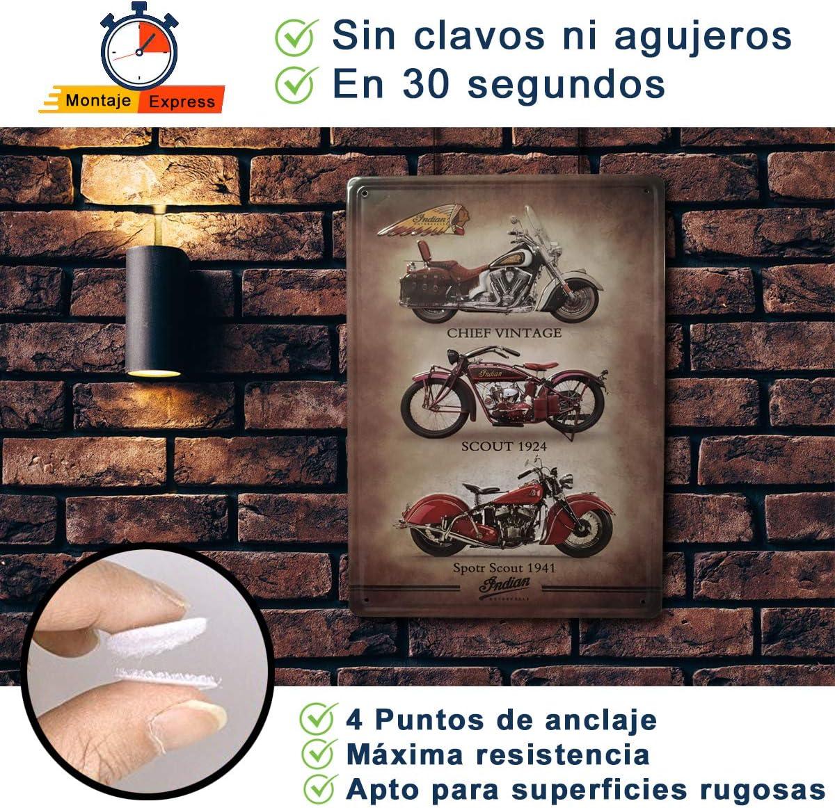 Bar Garage Lot de 2 Panneaux d/écoratifs r/étro pour Moto pour Salon Atelier Plaque Vintage pour Moto Dimensions : 20 x 30 cm. Indian et BSA