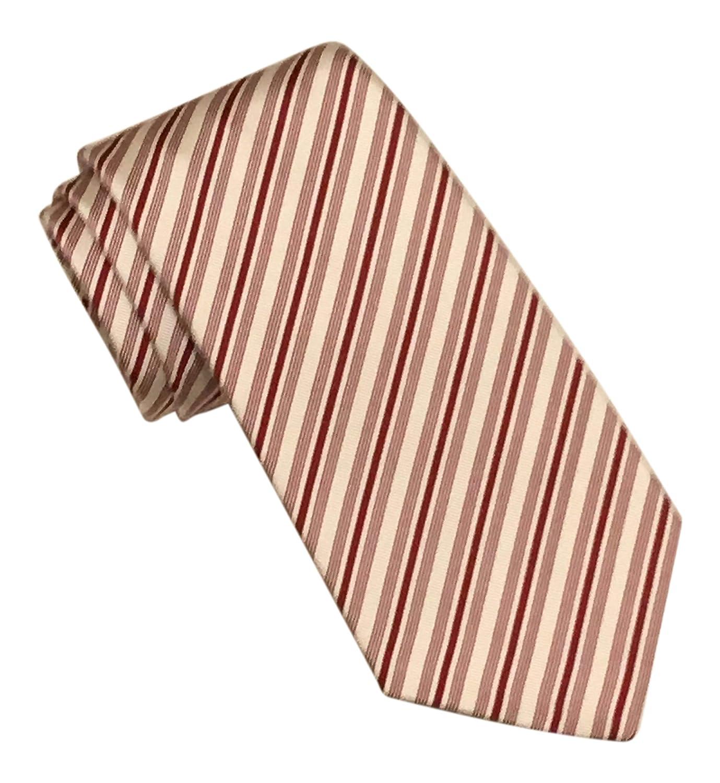 Kiton Russo Capri Maroon White Striped Silk Cotton Blend 7 Fold Tie
