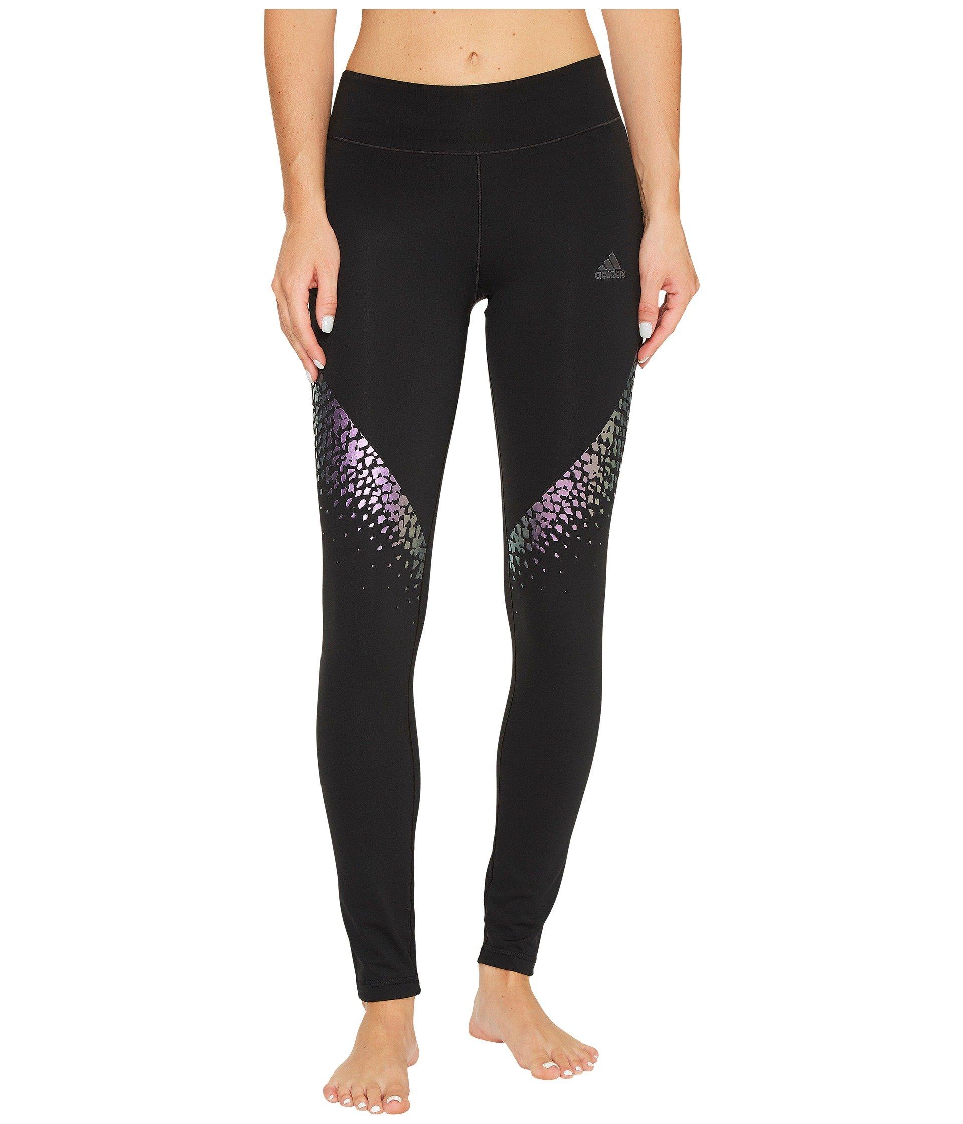 adidas Women's Training Wow Drop Tights, Black/Metallic Stripe, Large