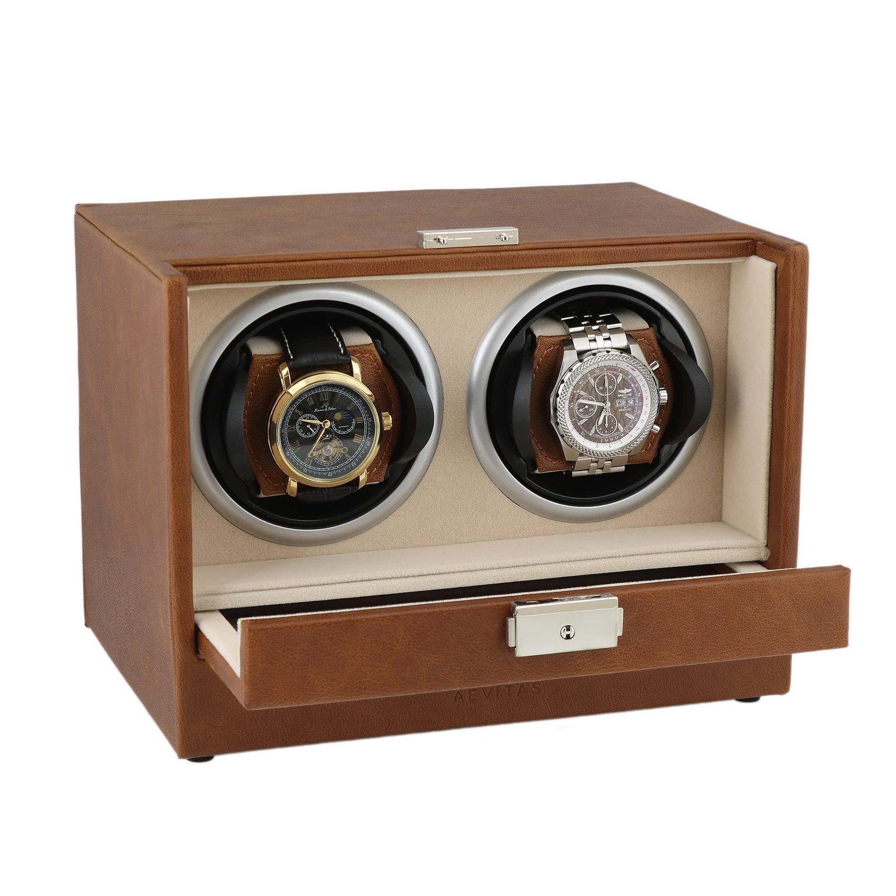 Brown Genuine Leather Dual Watch Winder - Slide Away Door - Beige Velvet Lining by Aevitas