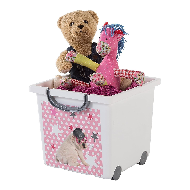 Iris 123308.0Dog immagine Storage box per bambini, con ruote e cinghia, 25litri, colore: Bianco/Grigio