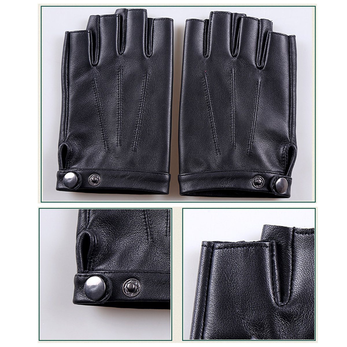 Fingerless Gloves PU Leather Gloves Touchscreen Texting Dress Driving Moto Glove for Men Women Teens (L) by gloveslove (Image #4)