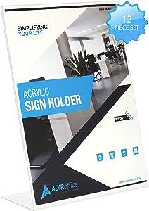 "Adir Plexi Acrylic 8.5"" X 11"" Single Slant Back Design Sign Holder - Clear - Pack of 12 (639-8511-12)"