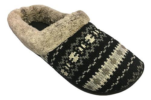 12dd8fd78b0b Dearfoams Womens Knit Clog Memory Foam Slipper (Small 5-6 B(M